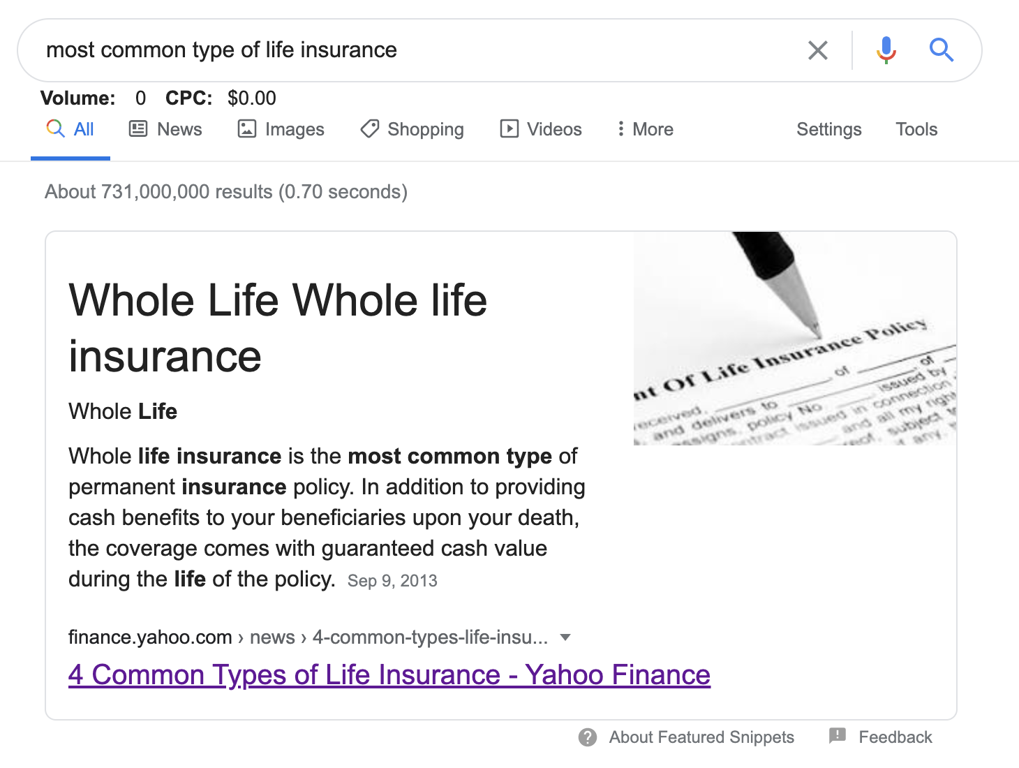 The most common life insurance type