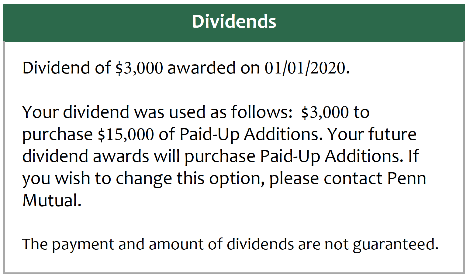 Whole Life Statement Dividend Information