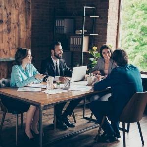 financial advisers at a sales meeting
