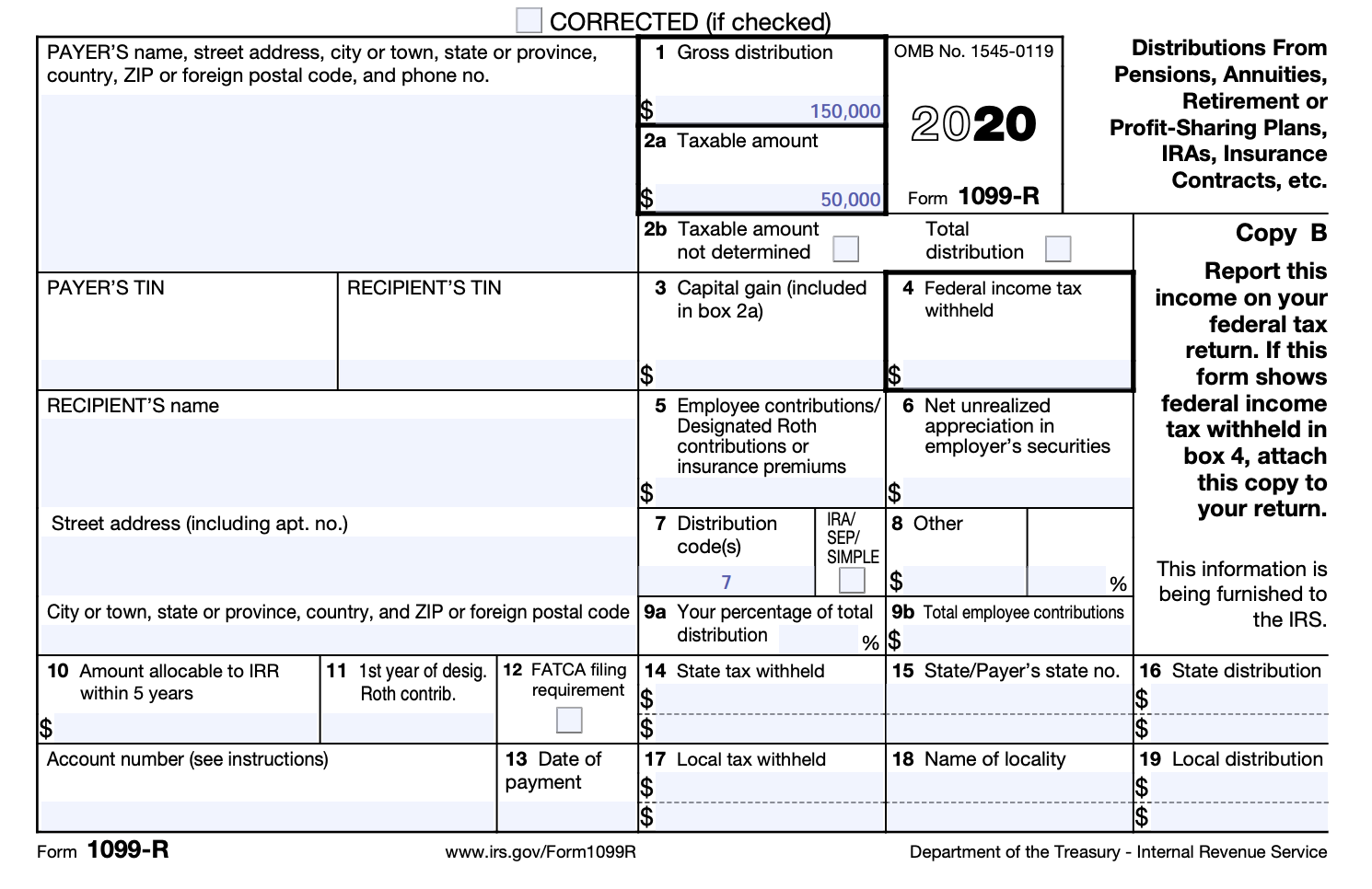 1099-R Taxable Withdrawal Example