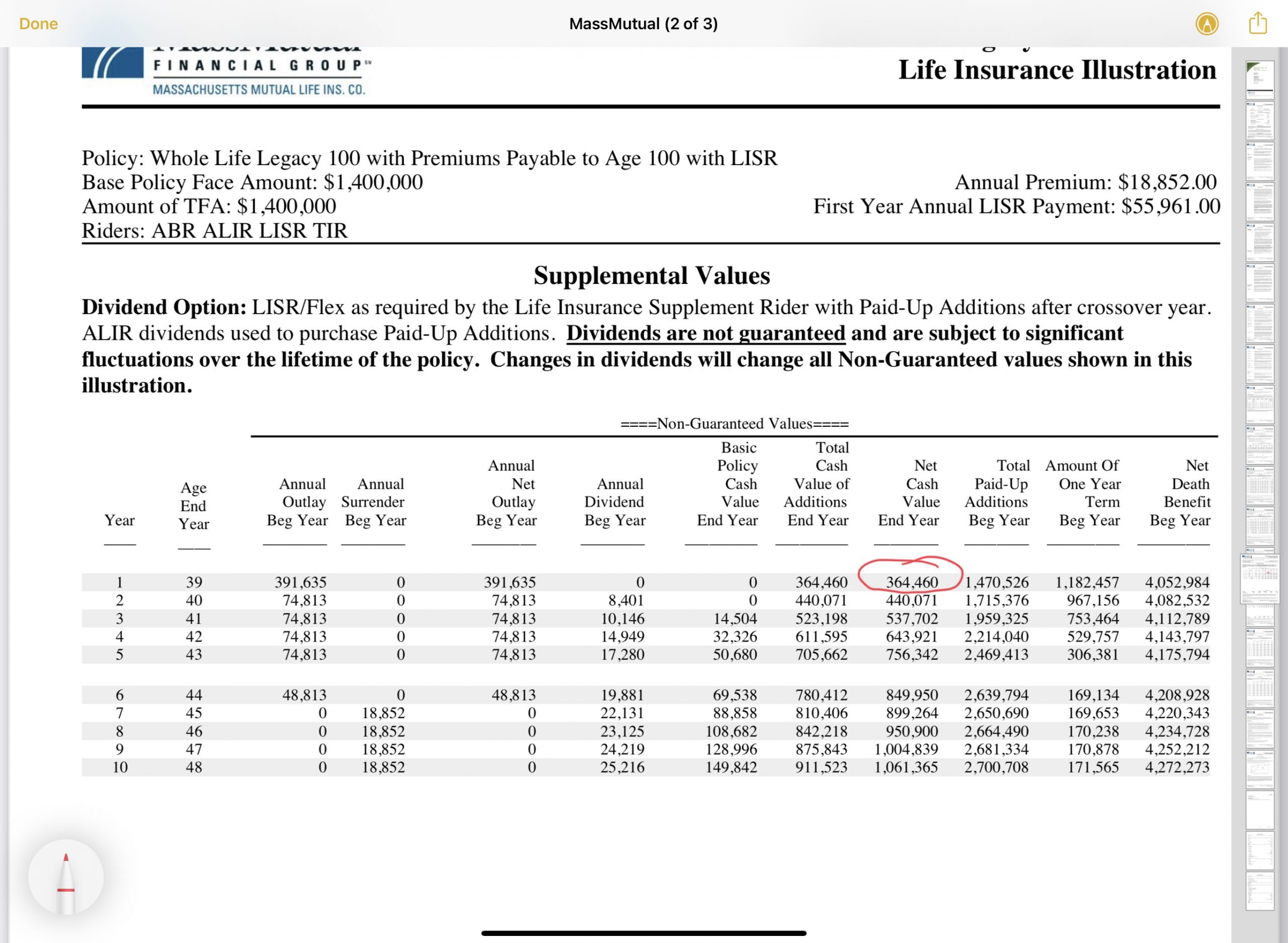 MassMutual Whole Life First Year Cash Value