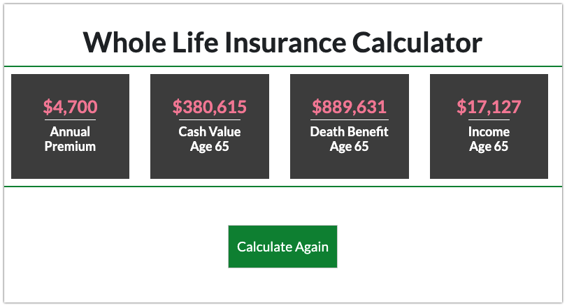 Whole life calculator results for 30 year old male