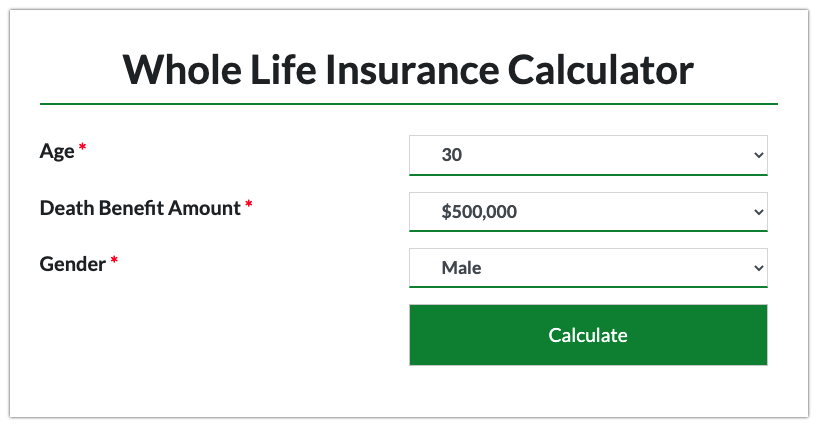 Enter your details in the whole life insurance calculator